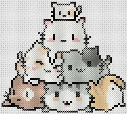 Preview of Kawaii cross stitch: Litter of Kittens