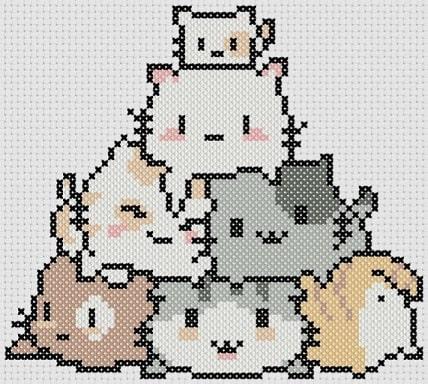 Preview of Kawaii cross stitch: Litter of Kittens