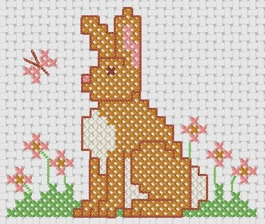 Preview of Animal cross stitch patterns: Simple Hare