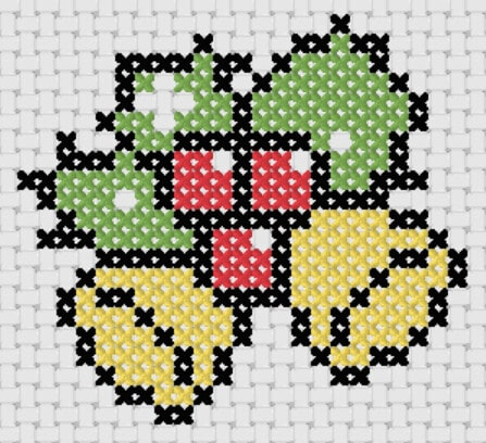 Preview of Personalized cross stitch christmas stocking design: Bells and Mistletoe