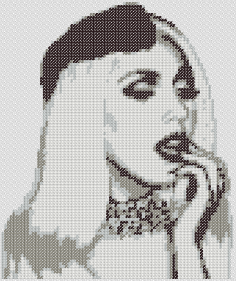 Preview of Cross Stitch People Design: Lady Gaga Silhouette