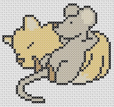 Preview of Sleepy Cat and Mouse animals cross stitch pattern