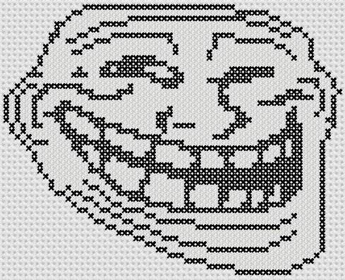Preview of Simple cross stitch pattern: Troll Face