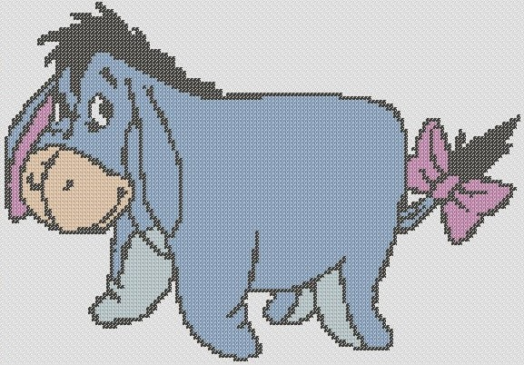 Preview of Large cross stitch patterns: Winnie The Pooh's Eeyore