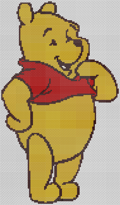 Preview of Free Cross Stitch Patterns: Winnie The Pooh (Large)