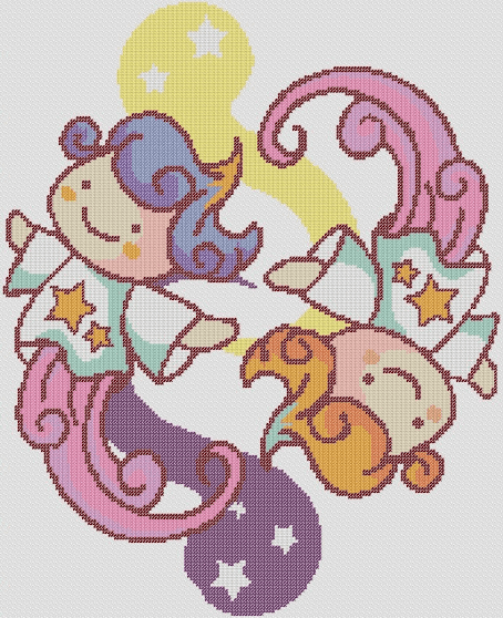 Preview of Cross Stitch Patterns: Gemini Babies (The Zodiac Series)