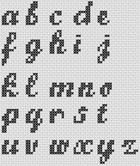 Preview of Cross Stitch Patterns: A to Z Alphabet Sampler (Small Letter Script)