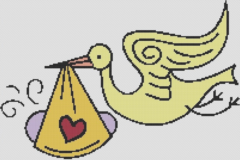 Preview of Cross Stitch Patterns: Stork and Baby 2