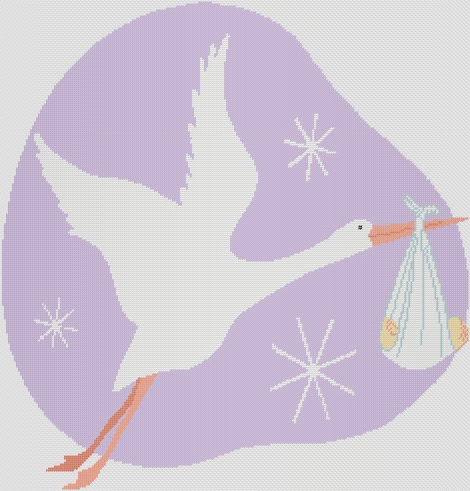 Preview of Cross Stitch Patterns: Stork & Baby