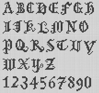 Preview of A to Z Gothic Alphabet Large Lettering Cross Stitch Chart