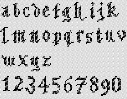 Preview of A to Z Gothic Alphabet Small Lettering Cross Stitch Chart