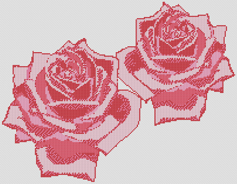 Preview of Free Cross Stitch Patterns Flowers: Pink Roses