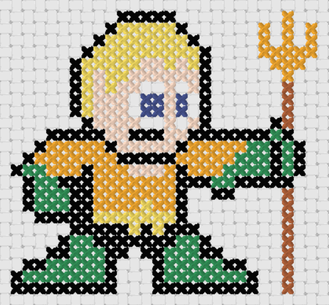 Preview of Free Justice League's Aquaman cross stitch pattern (small)