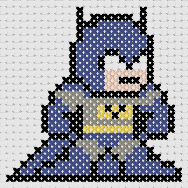 Preview of Free Justice League's Batman cross stitch pattern (small)
