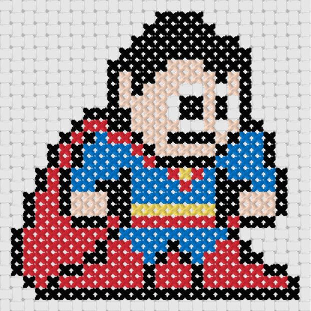 Preview of Free Justice League's Superman cross stitch pattern (small)
