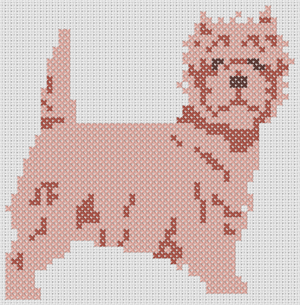 Preview of Simple dog cross stitch pattern: Pink Yorkie